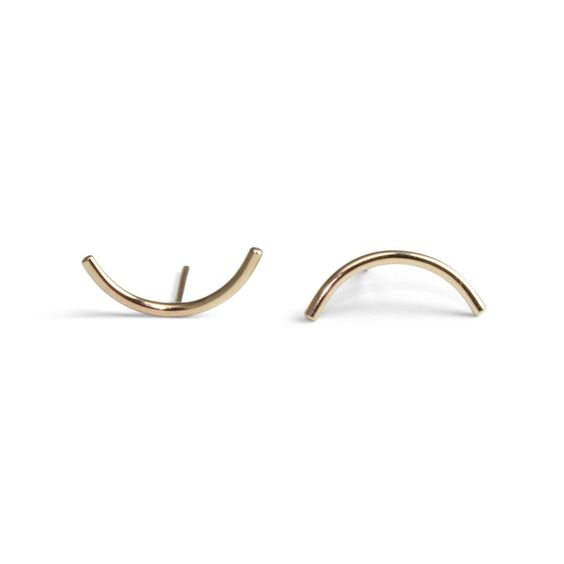 Hand fabricated 14k gold Arcs with. Just under ½ inch long.  by Amanda Hunt