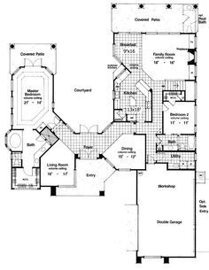 U shaped house plans with courtyard in middle google for Homes with courtyards in the middle