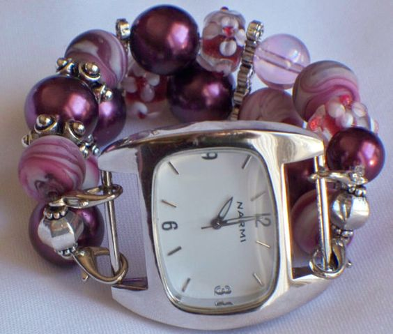 Pink and Burgendy Chunky Beaded Interchangeable by BeadsnTime, $15.00
