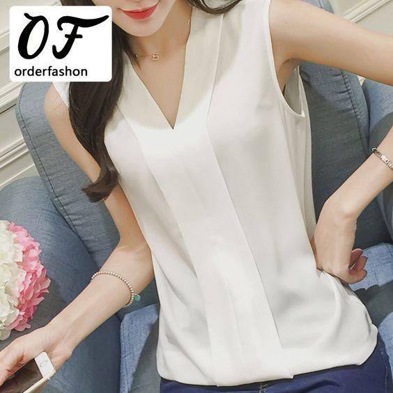 Estilo del verano 2016 Blusas Femininas mujeres Casual blanco Blusa de la gasa de la camisa del v cuello sin mangas Tops mujeres Blusa Mujer en Blusas y Camisas de Moda y Complementos Mujer en AliExpress.com   Alibaba Group