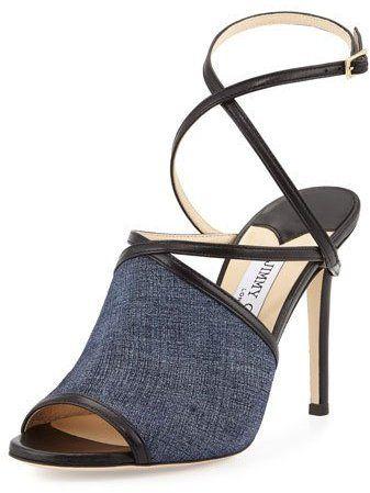 Jimmy Choo Flora 100mm Leather Crisscross Sandal, Light Indigo/Black