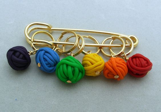 Stitch Markers YARN BALLS  for Knit or Crochet set of 6 knitting wool crochet. $12.99, via Etsy.
