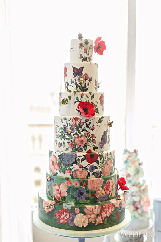 hand-painted flower wedding cake Wedding Inspiration for brides and groom across the globe, plan online now www.destinationweddingcollective.com