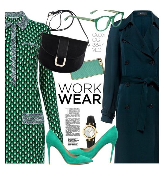 """""""Rainy September - work wear"""" by smartbuyglasses-uk ❤ liked on Polyvore featuring Theory, Diane Von Furstenberg, A.P.C., Gucci and Salvatore Ferragamo"""