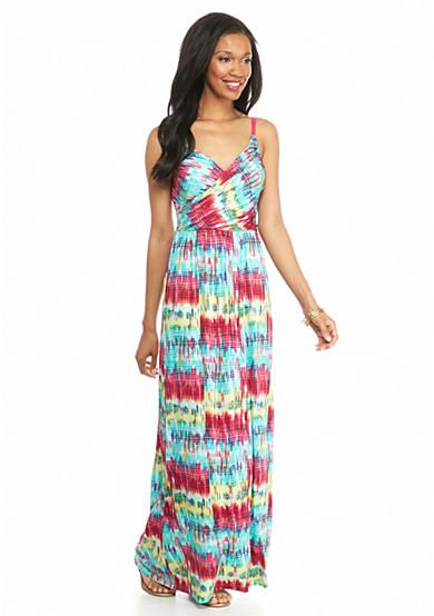 New Directions® Drape Crossover Scratchy Print Maxi Dress
