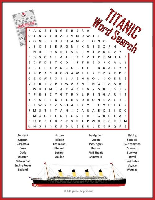 Just For Fun Worksheets : Titanic word search puzzle early finishers activities