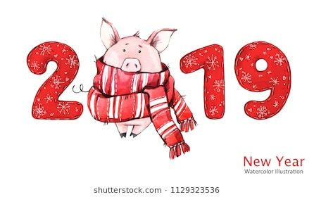 2019 Happy New Year banner. Cute pig in winter scarf with numbers. Greeting watercolor illustration. Symbol of winter holidays. Zodiac sign. Perfect for calendar and celebration card.