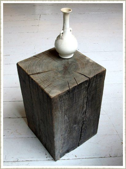 Oak Wood Block : Aged oak wood block stool side table cubos