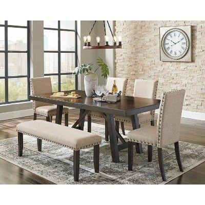 Rokane Rectangular Dining Room Extension Table Brown Signature