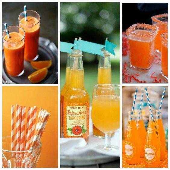 Bebidas para boda en tono #Tangerine #Mandarina #Coctail #Wedding #YUCATANLOVE