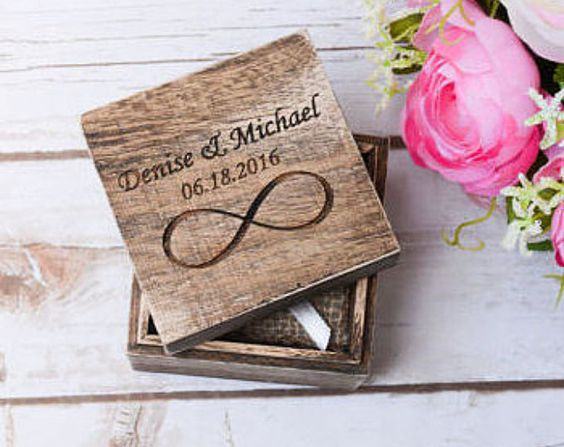 Ehering Box rustikalen Ring Halter Träger personalisiert rustikalen Ring Inhaber Infinity Ring Kissen Träger Box