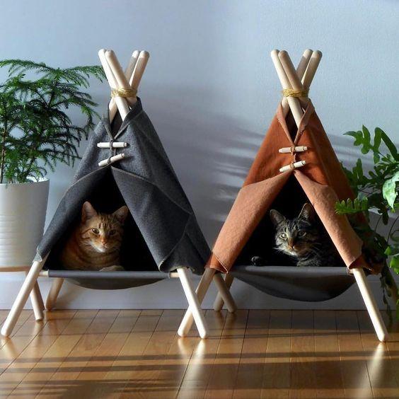 Cama para gatos em forma de cabana. Olha só que fofura ð���. Font