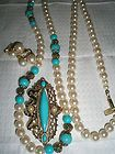 signed 1928 PARURE FAUX PEARL TURQUOISE GOLD NECKLACE BROOCH EARRINGS GORGEOUS - 1928, Brooch, Earrings., Faux, Gold, GORGEOUS, Necklace, Parure, Pearl, signed, TURQUOISEamp http://designerjewelrygalleria.com/1928-jewelry/1928-necklaces/signed-1928-parure-faux-pearl-turquoise-gold-necklace-brooch-earrings-gorgeous/