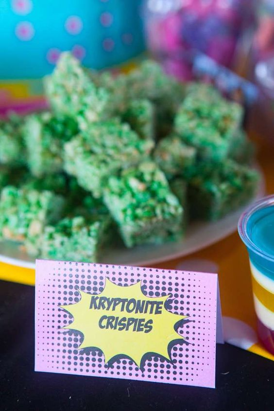 Kryptonite crispies at a girl superhero birthday party! See more party ideas at CatchMyParty.com!