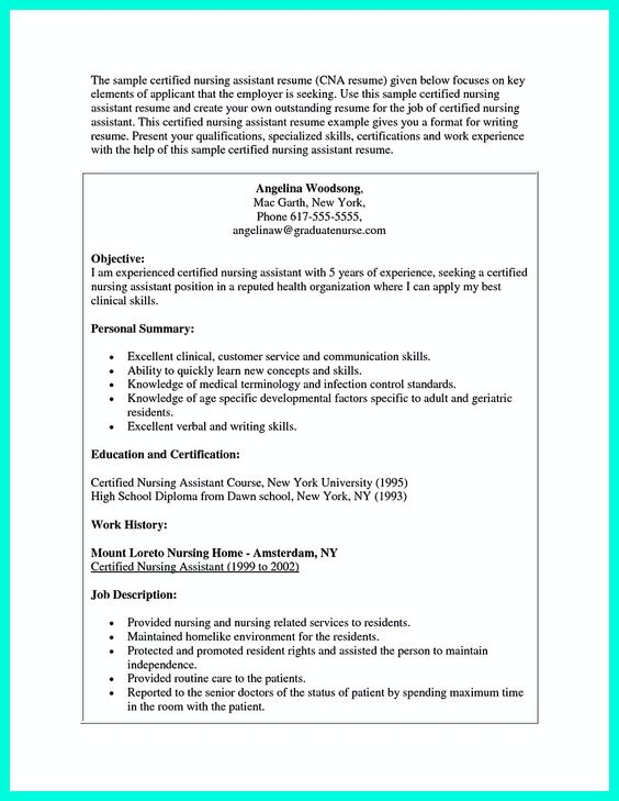 certified nursing assistant resume sample and certified nursing