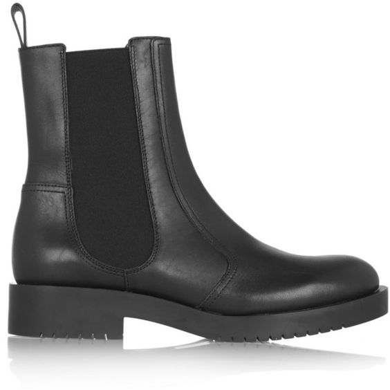 Jil Sander Navy Leather biker boots ($205) ❤ liked on Polyvore featuring shoes, boots, black, black engineer boots, leather motorcycle boots, black moto boots, leather biker boots and slip on boots