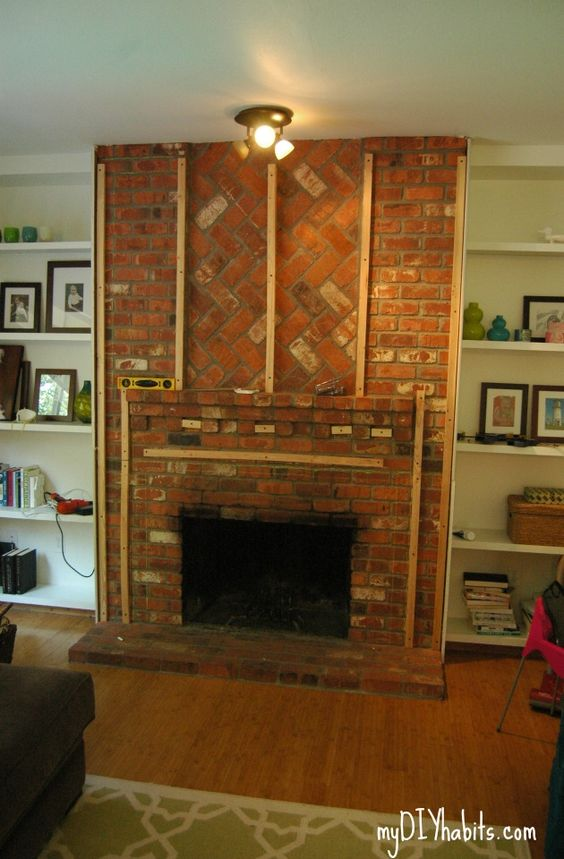Drywall brick fireplaces and fireplaces on pinterest - How to cover brick fireplace ...