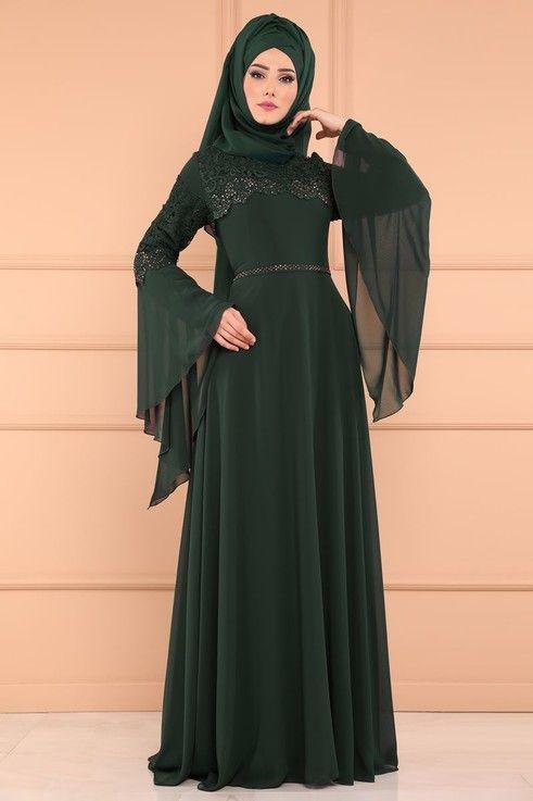 Modaselvim Abiye Volan Kol Sifon Abiye Alm52695 S Zumrut Abaya Designs Abayas Fashion Hijabista Fashion