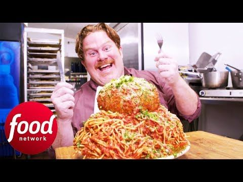 Man vs food recipes meatballs Making St Louis Monstrous Meatball Spaghetti Dish Man V Food Youtube Spaghetti And Meatballs Food Network Recipes Food