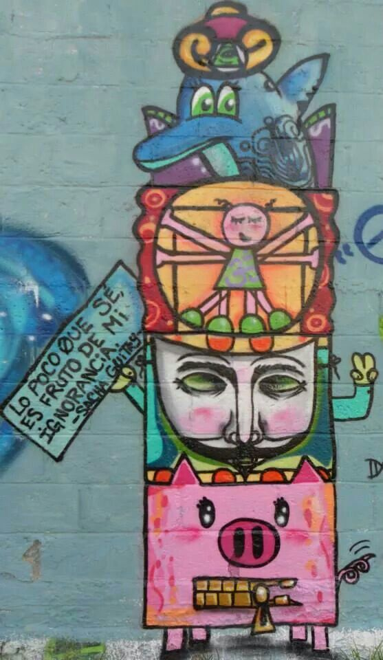 "Totem de la inteligencia. Parte del mural ""Inteligencia vs ignorancia"" #graff"