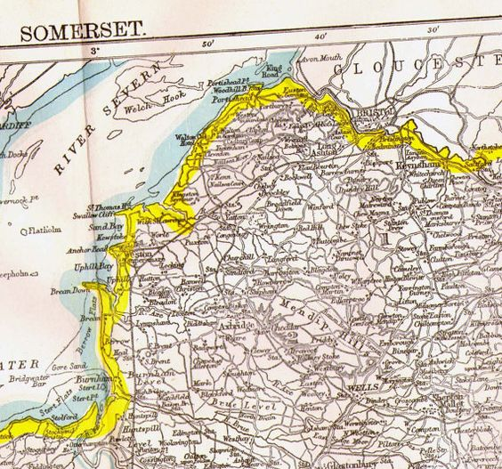 Somerset County England Map Antique Copper Engraved European Cartography 1892 Victorian Geography