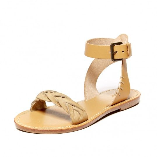 Leather Braided Ankle Strap Sandal: