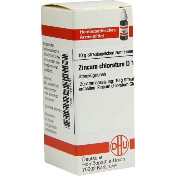 ZINCUM CHLORATUM D 12 Globuli:   Packungsinhalt: 10 g Globuli PZN: 01857493 Hersteller: DHU-Arzneimittel GmbH & Co. KG Preis: 5,19 EUR…