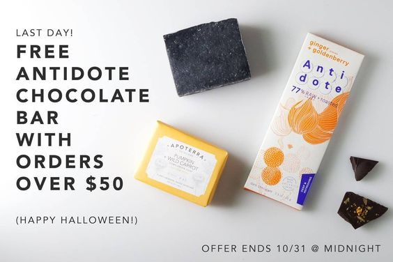 """Last day to get a free bar of @antidotechoco with your order!  Happy Halloween. Orders must be placed at www.apoterraskincare.com by 10/31/15 at midnight #freechocolate #halloween #naturalskincare #healthycandy"""""""