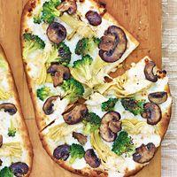Broccoli, Artichoke, & Mushroom White Naan Pizza