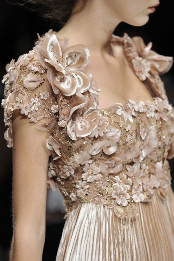 Elie Saab, nude flower embellished nymph dress with silk pleated skirt, ethereal, dreamy, earthy