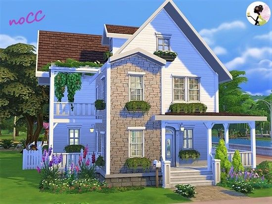 Scarlet House Is A Great Place For A Family With 2 Children A Toddler And A Dog Found In Tsr Cate Sims 4 House Design Sims House Plans Sims 4 House Building