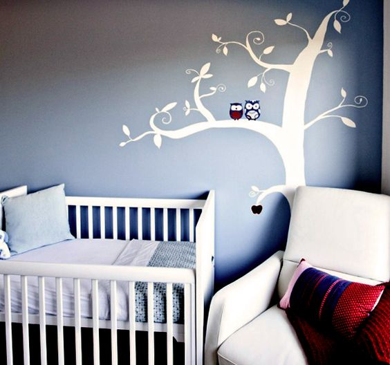 Owl themed baby room. Love the apple as a memorial of the baby lost to miscarriage.