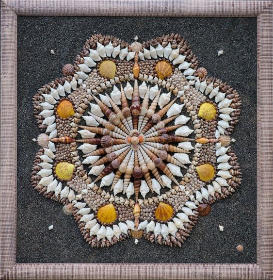 Mosaic sea shells mixed media art original modern mosaic for Seashell mosaic art