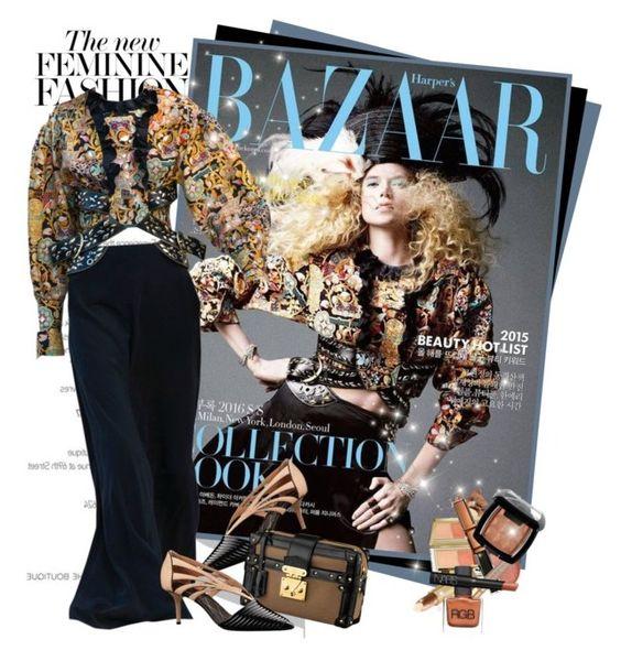 """Gabriella Wilde for Harper's Bazaar inLouis Vuitton resort 2016"" by mrekulli ❤ liked on Polyvore featuring Versace and Louis Vuitton"