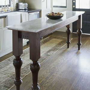 Narrow island for small kitchen legs lace fretwork for for Narrow kitchen table