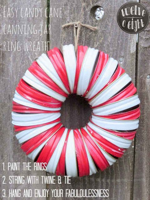 This simple Mason Jar Lid Wreath just takes 18 Mason Jar Lids, paint them red and white and string them with jute!