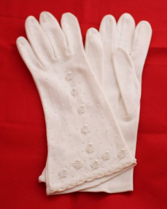 Vintage Gloves Women&39s White Dress Gloves with Seed Pearl ...