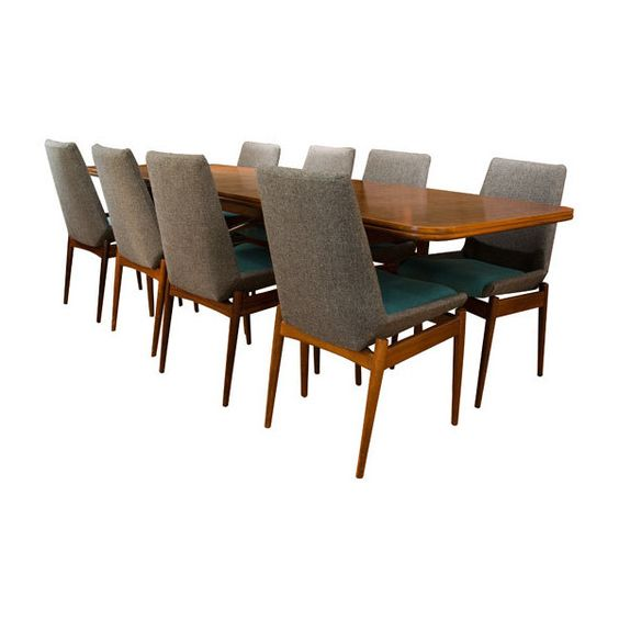 1960's Robert Heritage Dining Table 8 Reupholstered Chairs $3340 Simple Heritage Dining Room Furniture Design Ideas