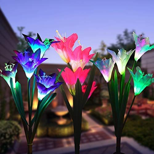 Outdoor Solar Garden Stake Lights 3 Pack Solar Powered Lights With 12 Lily Flower Multi Color Changi Solar Flower Lights Solar Flower Best Solar Garden Lights
