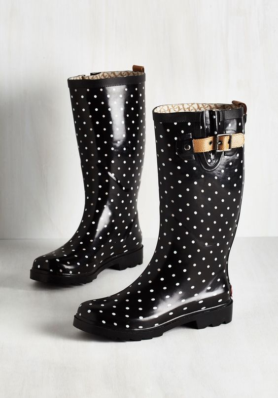 Puddle Jumper Rain Boot in Black Dots - Black, White, Polka Dots, Buckles, Casual, Darling, Better, Calf, Variation, Fall