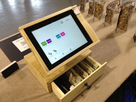 For our someday tea house or art store :)   IPad stand for Square Users  With Cash by SquareWoodProducts