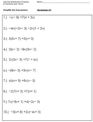 math worksheet : practice simplifying expressions with these algebra worksheets  : Grade 7 Math Worksheets Algebra