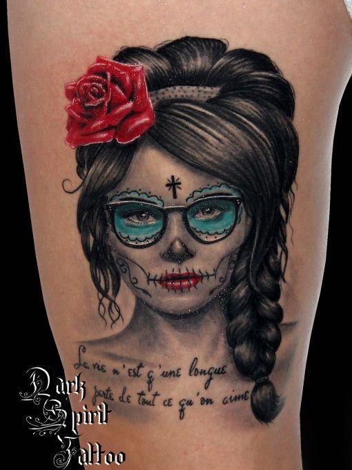 Tatouage visage, femme, catrina, calavera, santa, muerte, dia de los
