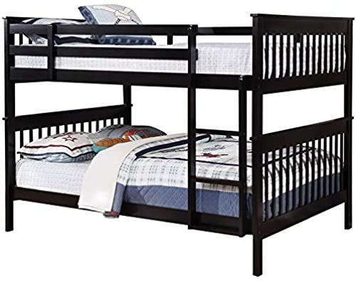 New Bowery Hill Full Over Full Bunk Bed Black Heavy Duty 400lbs
