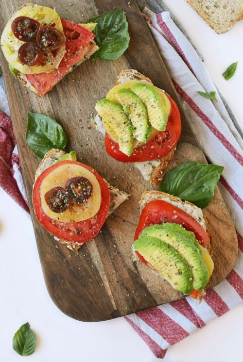 vegan-yums:  White bean, tomato avocado toasts / Recipe