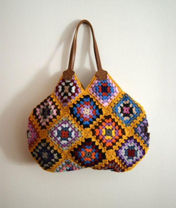 Mustard Crochet Granny Square Bag.