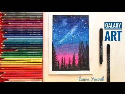 رسم المجرة بالالوان الخشبية للمبتدئين Drawing Galaxy With Colored Pencils Youtube Galaxy Art Art Galaxy