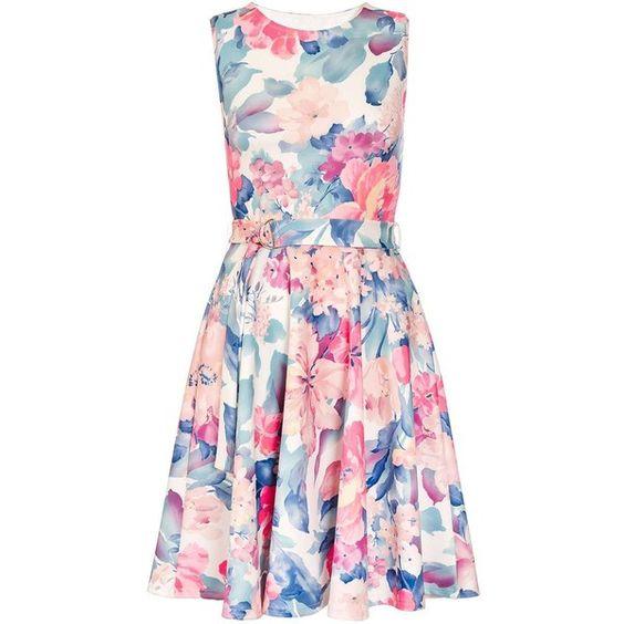 Dorothy Perkins **Quiz Flower Belt Skater Dress ($44) ❤ liked on Polyvore featuring dresses, cream, floral dresses, pink flower dress, flower print dress, cream dress and dorothy perkins dress
