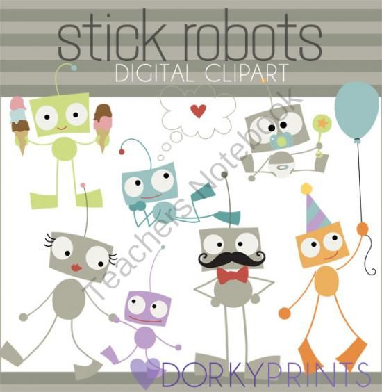 Robot Digital Clip Art from Dorky Doodles on TeachersNotebook.com -  (6 pages)  - These cute stick robots clip art images are perfect for worksheets, notes, and bulletin boards!