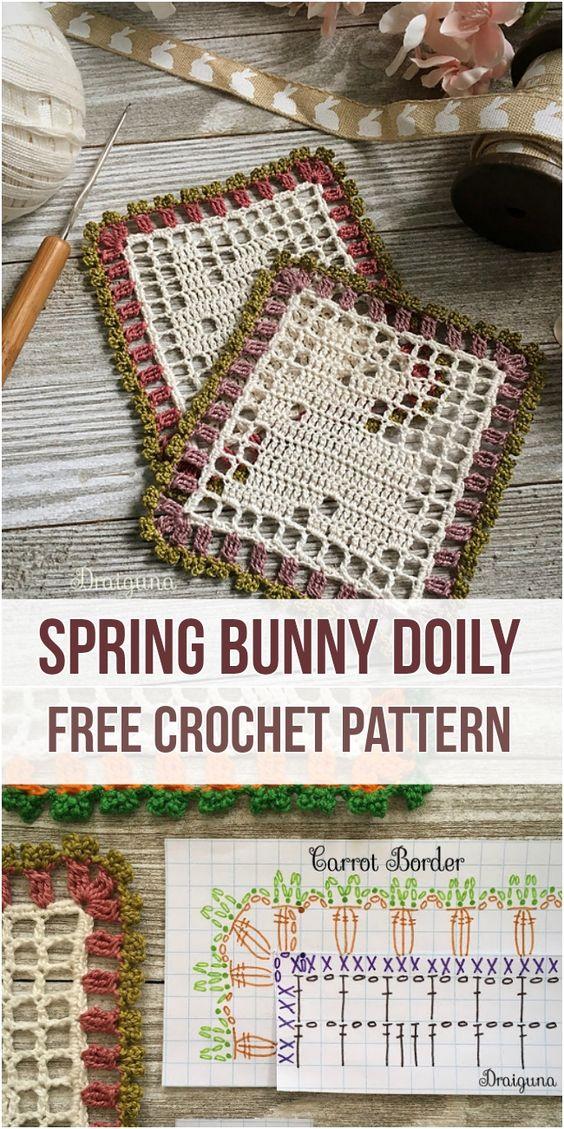 Spring Bunny Doily [Free Crochet Pattern] #crochet #doily #freepattern #homedecorideas